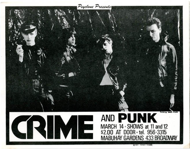 Original handbill designed by James Stark announcing Crime with Punk at the Mabuhay, SF, 14th March (1977). CRIME.