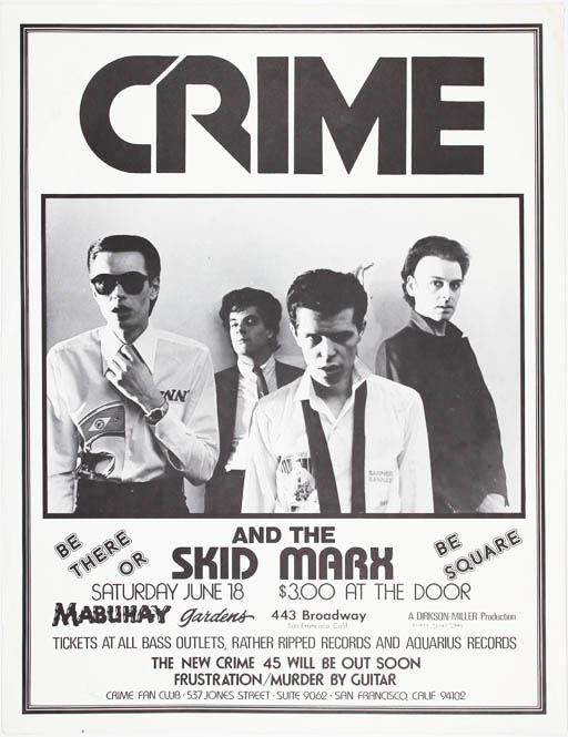 Original James Stark-designed poster announcing Crime and The Skid Marx at the Mabuhay Gardens, SF, 18th June (1977). CRIME.