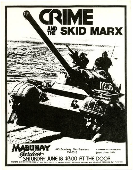 Original James Stark-designed handbill announcing Crime and The Skid Marx at the Mabuhay Gardens, SF, 18th June (1977). CRIME.
