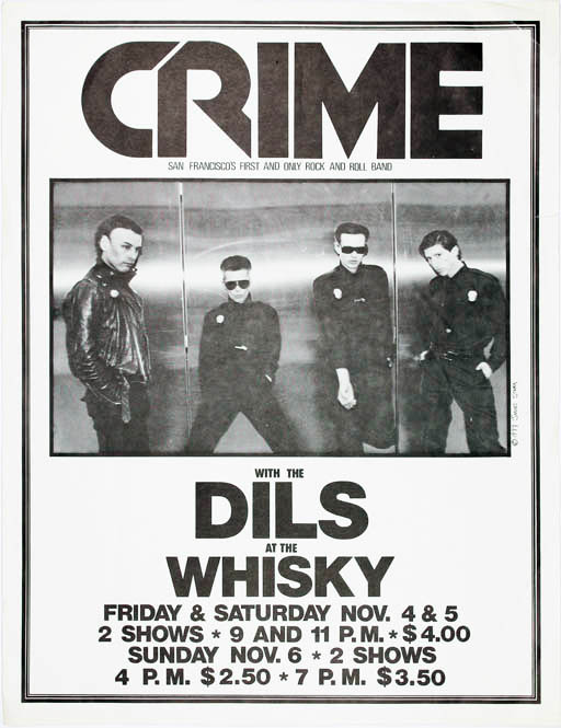 Original James Stark-designed poster announcing Crime with The Dils at the Whisky, LA, 4th-5th November (1977). CRIME.