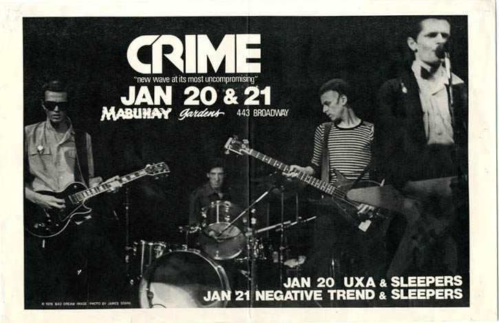 Original poster announcing Crime with UXA and The Sleepers (20th January) and Negative Trend and The Sleepers (21st January) at the Mabuhay, SF (1978). CRIME.