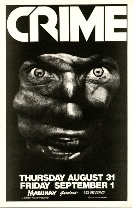 Original poster depicting fist/angry face announcing Crime at the Mabuhay, SF, 31st August - 1st September (1978). CRIME.
