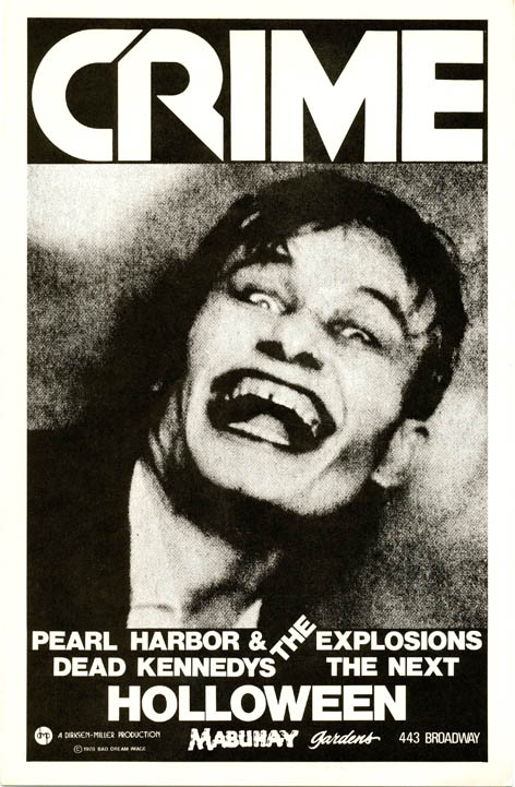 Original poster designed by James Stark featuring image of laughing/screaming face, announcing Crime with Pearl Harbor & The Explosions and The Dead Kennedys at the Mabuhay, SF, 'Holloween' (sic) (1978). CRIME.