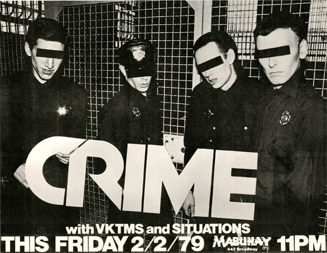 Original poster announcing Crime with Vktms and Situations at the Mabuhay, SF, 2nd February, 1979. CRIME.