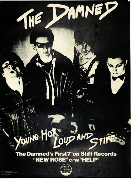 Original poster announcing the release of The Damned's debut single, 'New Rose' (London: Stiff Records, October 1976). The DAMNED.