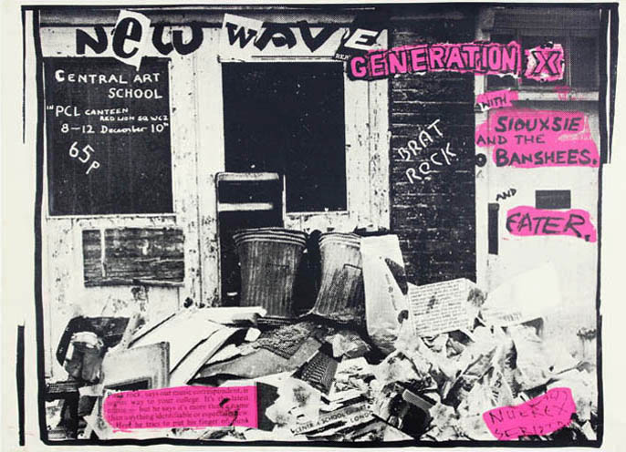 Original 'New Wave' poster announcing Generation X's first gig, Central Art School (Central School of Art & Design), London, 10th December (1976). GENERATION X., Siouxsie and the Banshees and Eater, Siouxsie, the Banshees and Eater.