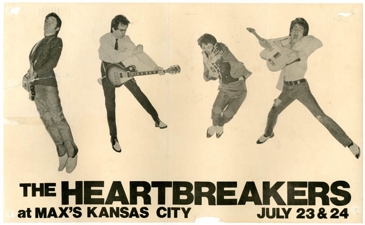 Original handbill announcing The Heartbreakers at Max's Kansas City, New York City, 23rd and 24th July (1976). The HEARTBREAKERS.