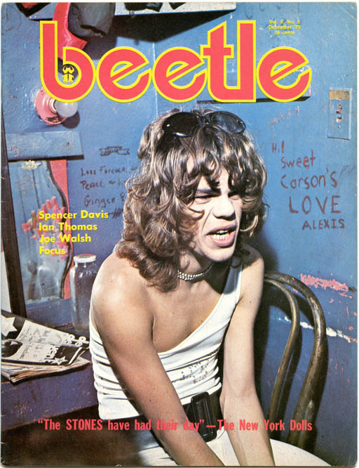 Lengthy 8pp. colour front cover photo-illustrated interview/feature on The New York Dolls in BEETLE Vol. 5, #5 (Toronto: December 1973) + BEETLE Vol. 5, #12 (Toronto: November 1974). The NEW YORK DOLLS.