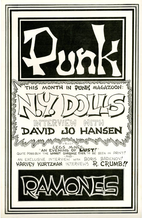 Original poster designed by John Holmstrom announcing the latest issue of 'Punk Magazoon' (May 1976), PUNK MAGAZINE.