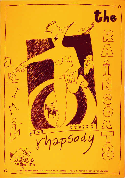 """Original poster announcing the release of The Raincoats' 12"""" EP 'Animal Rhapsody' on Rough Trade Records (1983). The RAINCOATS."""