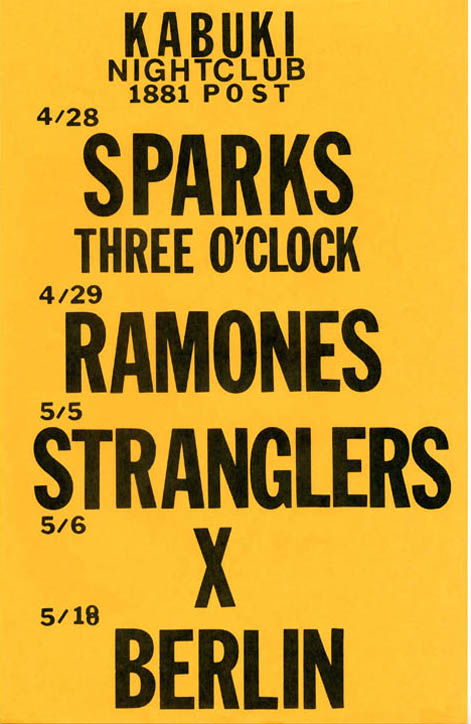 Original poster announcing upcoming concert dates at the Kabuki Nightclub, San Francisco, including The Ramones on 29th April (1983). The RAMONES.