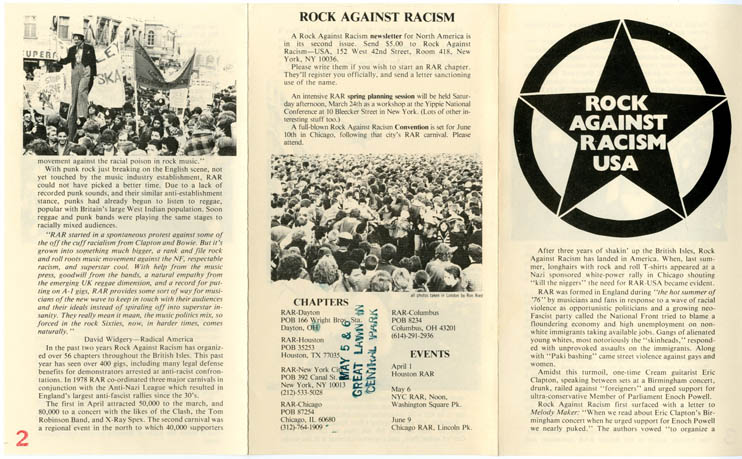 A leaflet issued by RAR USA in 1979, one of several international off-shoots from the original organisation, founded in London in 1976. ROCK AGAINST RACISM USA.