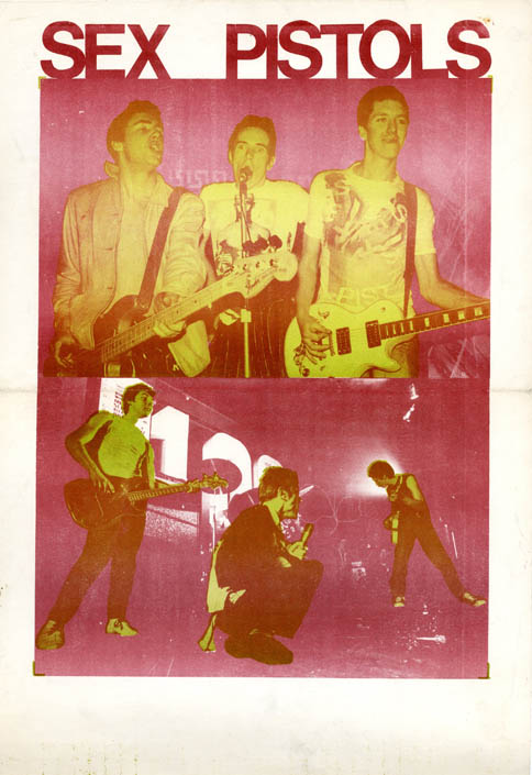 Early promotional poster for the Sex Pistols, designed by Jamie Reid and printed at the Rye Express, the Labour Party press in Peckham, south London (September 1976). The SEX PISTOLS.