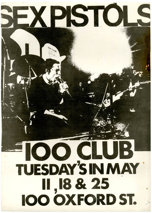 Original flyer designed by Helen Wellington-Lloyd announcing the Sex Pistols' Tuesday night residency at the 100 Club, London, 11th, 18th and 25th May (1976). The SEX PISTOLS.