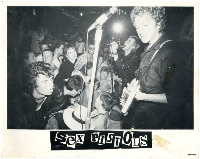 Original promo photograph of the Sex Pistols onstage at the 100 Club Punk Festival, 20th September, 1976. The SEX PISTOLS.
