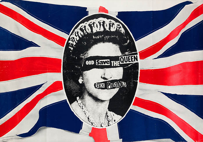 Original promotional poster designed by Jamie Reid for the release of 'God Save The Queen' (c. March 1977). The SEX PISTOLS.