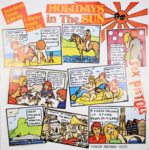 Original promotional poster announcing the release of 'Holidays In The Sun' (October 1977). The SEX PISTOLS.