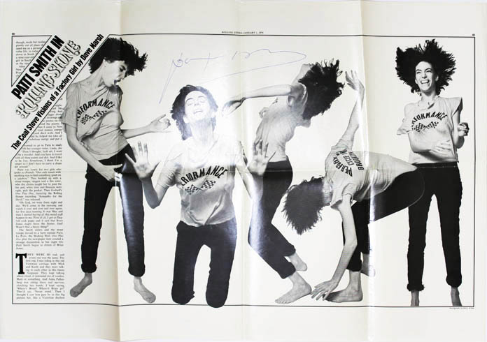 An original poster reprinting pages 40-41 from Rolling Stone magazine (1st January, 1976), signed in blue ink by Patti Smith. Patti SMITH.