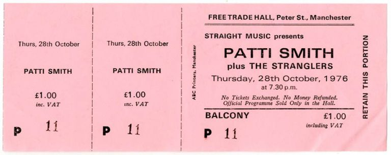 An unused ticket for a Patti Smith concert at the Free Trade Hall, Manchester, 28th October, 1976. Patti SMITH.