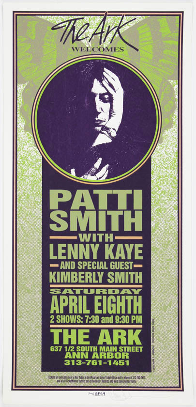 Original colour screenprint poster designed by Mark Arminski announcing Patti Smith with Lenny Kaye and Kimberly Smith at the Ark, Ann Arbor, 8th April, 1995. Patti SMITH.