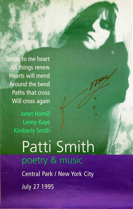 "Original poster announcing Patti Smith ""poetry & music"" in Central Park, New York, 27th July, 1995, with Janet Hamill, Lenny Kaye and Kimberly Smith. Patti SMITH."