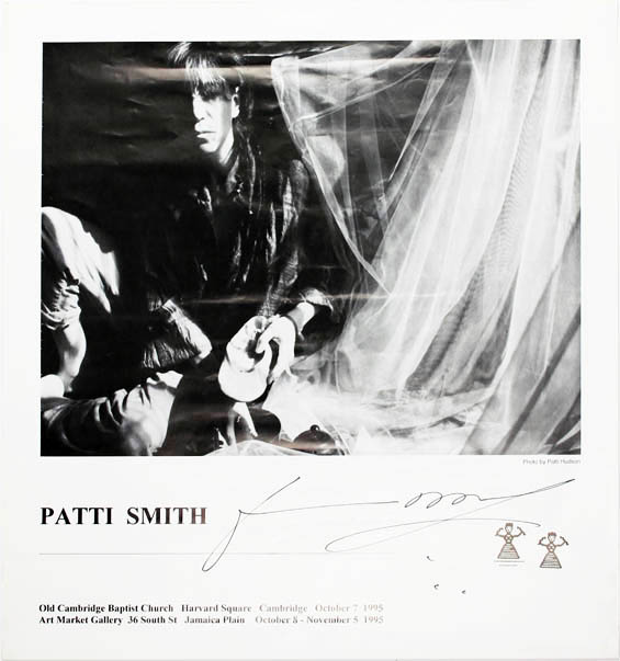 Original poster announcing a series of concerts by Patti Smith in Massachussetts during October and November, 1995. Patti SMITH.