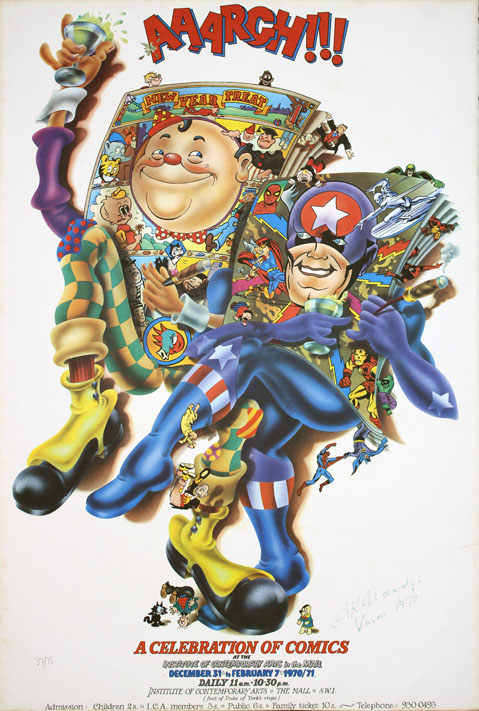 "AAARGH!!! Original poster designed by Alan Aldridge announcing ""AAARGH!!! A Celebration of Comics"","