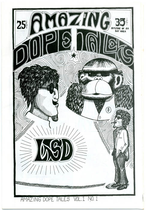 AMAZING DOPE TALES Volume 1, No. 1 (San Francisco: Greg Shaw, c. early 1967) + pre-publication flyer.