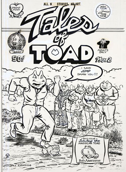 Original artwork for the front cover of Tales of Toad #2 (Berkeley, CA: The Print Mint, 1971). Bill GRIFFITH.