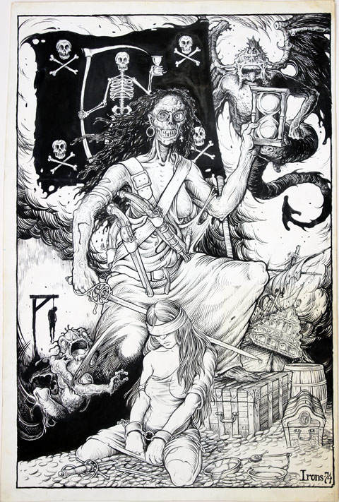 """Original artwork, signed and dated """"Irons 74"""". Published and titled """"The Allegorical Figures of Piracy Triumphant over Justice"""" on the back cover of Slow Death #7 (SF: Last Gasp, 1976). Greg IRONS."""