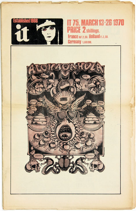 Front cover art, IT #75 (London: 13th March, 1970). Rick GRIFFIN.