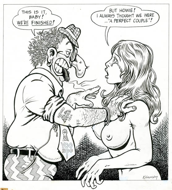 Original artwork drawn in 1972 for the front cover of Screw: The Sex Review. Jay KINNEY.