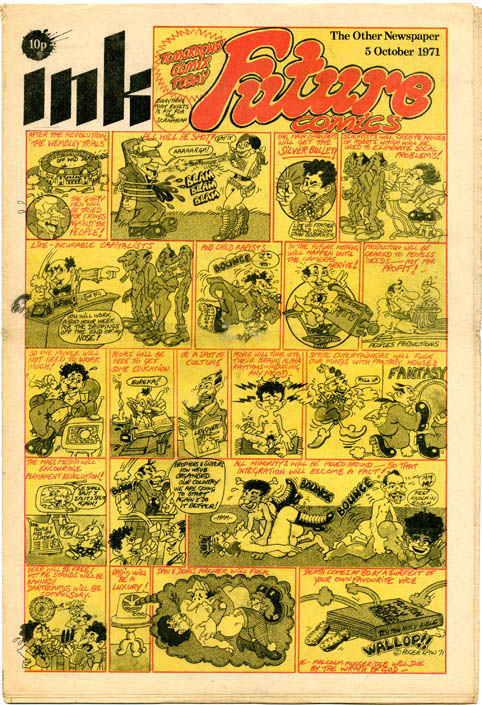 """""""Future Comics"""" front page, INK - The Other Newspaper #18 (London: Ink Publishers Ltd., 5th October, 1971). Roger LAW."""