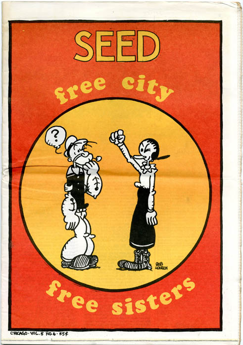 Cover art featuring Popeye and Olive Oyl, CHICAGO SEED Vol. 5, #6 (June 1970). Bob LONDON.