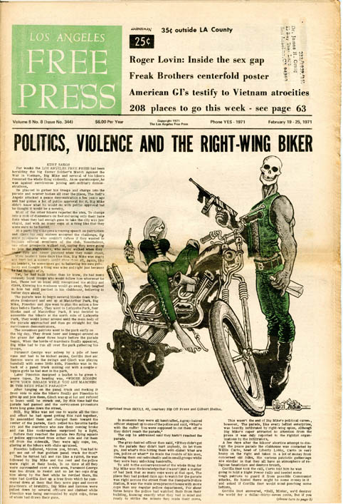 """Front cover art (reprinted from Skull #2) accompanying headline story, """"Politics, Violence and the Right-Wing Biker"""" by Kurt Saxon + Fabulous Furry Freak Brothers centrefold, printed in black and green, in LOS ANGELES FREE PRESS #344 (LA: 19th February, 1971) + full-page Fabulous Furry Freak Brothers strip in LOS ANGELES FREE PRESS #345 (LA: 26th February, 1971). Gilbert SHELTON."""