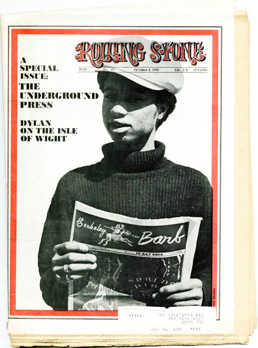 """The Underground Press: A Special Report"" in ROLLING STONE #43 (SF: 4th October, 1969). John BURKS."