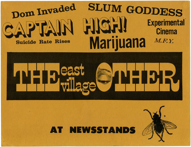 THE EAST VILLAGE OTHER. An original advertising card intended for display in newsagents and bookstores, c. 1967.