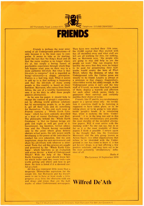 A printed publicity sheet reprinting Wilfred De'Ath's review of Friends from The Listener, 10th September, 1970 + Friends advertising rates card, dated 1st October, 1970. FRIENDS.