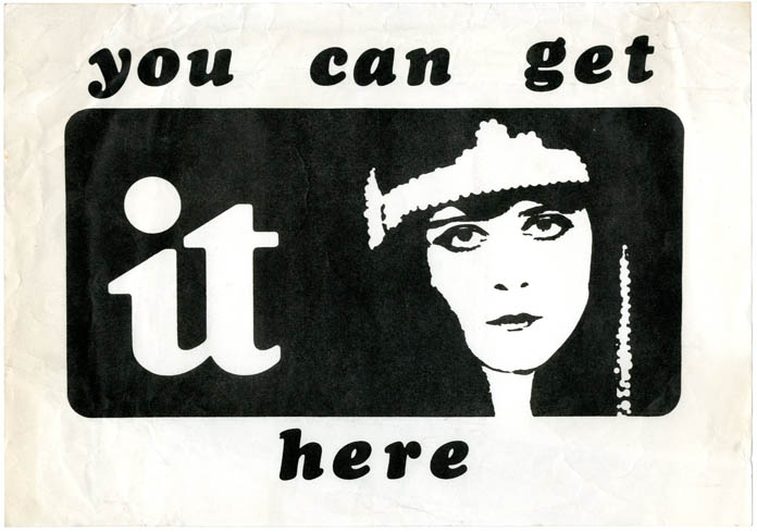 An original flyer announcing 'You Can Get It Here'. INTERNATIONAL TIMES.