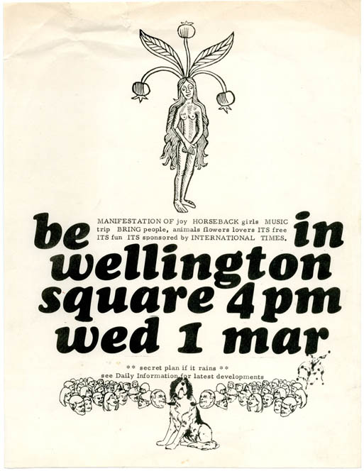 Be In Wellington Square 4pm Wed 1 Mar. Original flyer announcing an event in Oxford on 1st March, 1967, INTERNATIONAL TIMES.