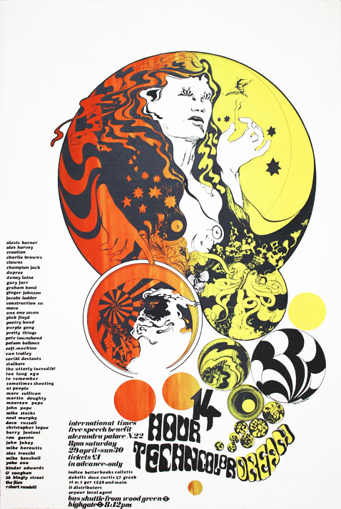 Original poster designed by Mike McInnerney announcing the '14-Hour Technicolor Dream Free Speech Benefit' for International Times at Alexandra Palace, north London, on 29th April, 1967. INTERNATIONAL TIMES.