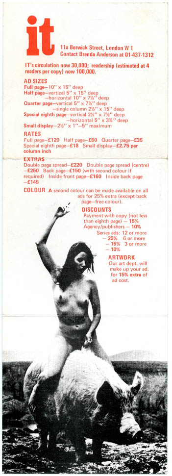 Advertising rates card for IT, c. 1971. INTERNATIONAL TIMES.