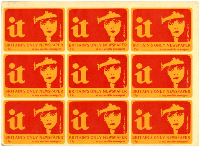An unused sheet of 9 IT stickers, c. 1973. INTERNATIONAL TIMES.
