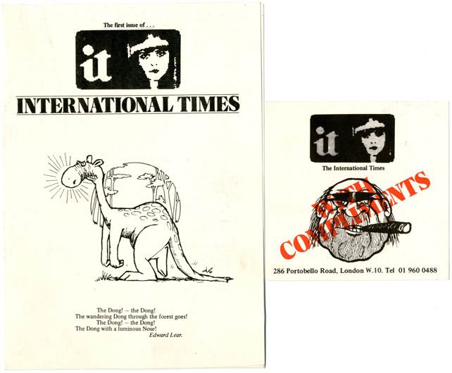 A folded card issued by IT to announce a new series, c. May 1974 + IT compliments card, both items featuring artwork by Ed Barker. INTERNATIONAL TIMES.