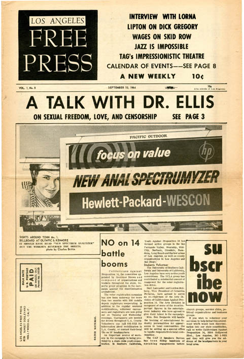 LOS ANGELES FREE PRESS #8 (LA: 10th September, 1964).