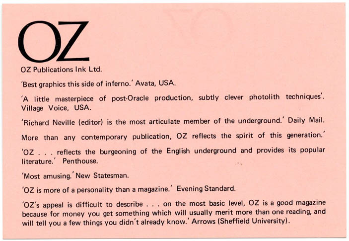 A double-sided Oz advertising rates card, printed in black on pink stock, c. 1971. OZ.