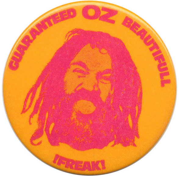 A 'Guaranteed Oz Beautiful !Freak!' badge in orange and red (positive photo image). OZ.
