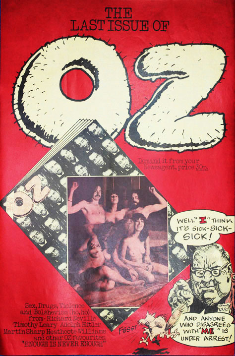 A promotional poster announcing the last issue of Oz magazine (London: November 1973