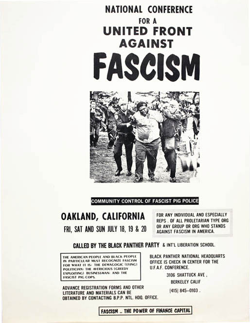 NATIONAL CONFERENCE FOR A UNITED FRONT AGAINST FASCISM. Offset poster, printed in black on white stock. BLACK PANTHERS.