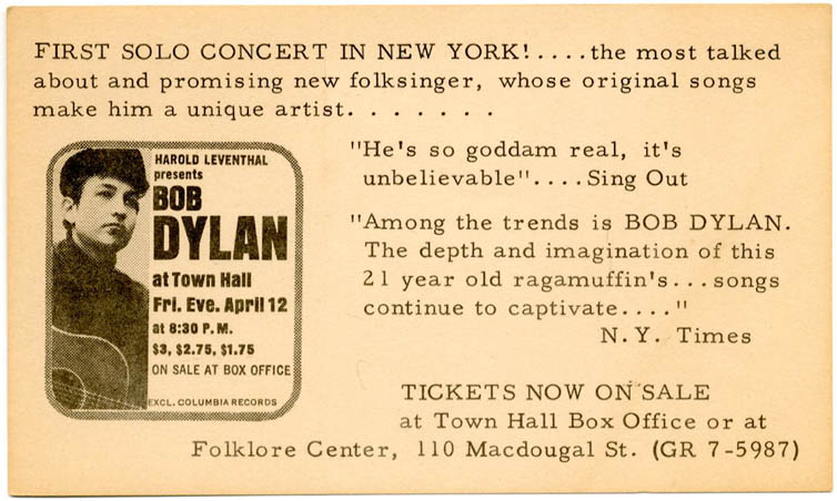 """Original small thin card flyer produced by promoter Harold Leventhal announcing Bob Dylan's Town Hall concert on 12th April, 1963, his """"First Solo Concert in New York!"""" Bob DYLAN."""